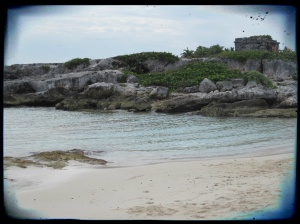To the left of the main beach area there were 2 smaller beach areas with a great view of the ruins located on the resort.
