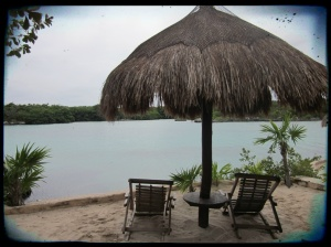 A quiet seating area in Xel Ha.