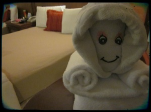 Just one of the many towel creatures our cleaning lady left us.