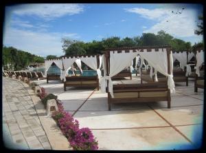 Poolside cabanas.