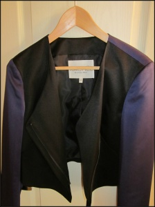 Cropped black and blue blazer with asymmetrical zipper from Rachel Roy