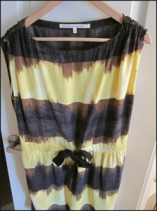 Yellow, black and brown drawstring waist dress from Rachel Roy