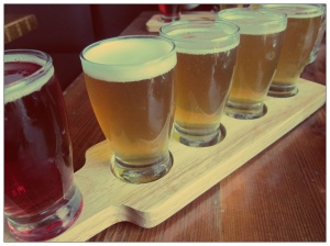 Beer flight from Bar Hop – this one included Denison's Weissbier, Cheval Blanc and Indie Ale House x KBC High Maintenance
