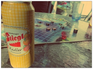 Two of my new favourite things: Stiegl's Radler Grapefruit Beer (I bought 60, no lie) and the game Pirateer!