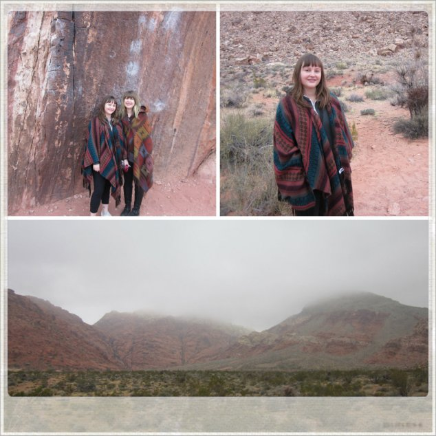 Poncho-ing. A and I on the Red Rock Canyon Tour.